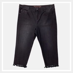 Soft Surroundings Tassel Trimmed Jeans Black 18P